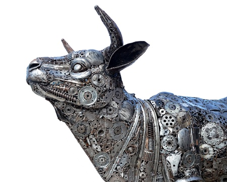 enraged: The steel buffalo, show outdoor  at  the market, thailand Stock Photo