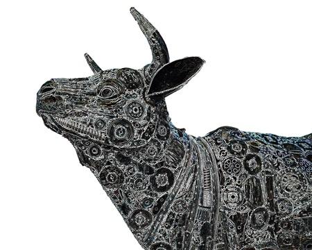 Mechanical buffalo graphic on white background photo