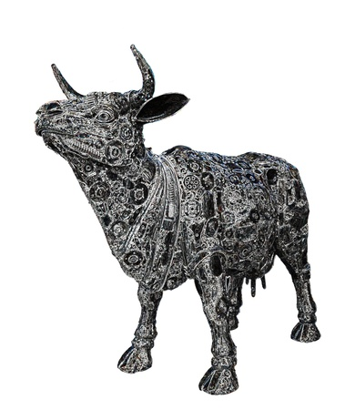 Mechanical buffalo graphic on white background photo