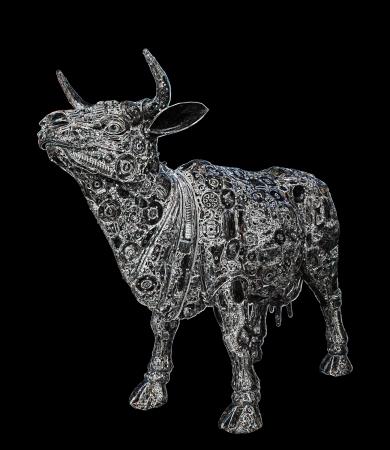 Mechanical buffalo graphic on black background photo