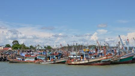 fisher boat pier at rayong, thailand photo