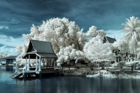 Public park at Nontaburi , Thailand taken in Near Infrared photo