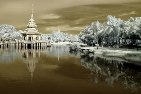 Public park at Nontaburi , Thailand taken in Near Infrared Stock Photo