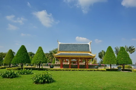 nontaburi: The pavilion in public park at nontaburi province ,thailand