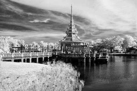 nontaburi: Public park at Nontaburi , Thailand taken in Near Infrared Black & White Style Stock Photo