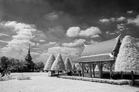 nontaburi: The pavilion in public park at nontaburi province ,thailand taken in Near Infrared  black and white style Stock Photo