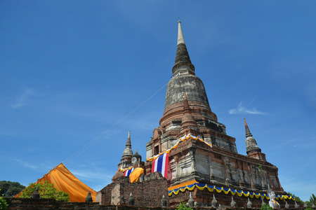 religious building: Wat Yai Chai Mongkol, is situated to the southeast of the city  Stock Photo