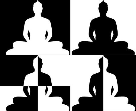 シルエットと仏の黒の白 写真素材