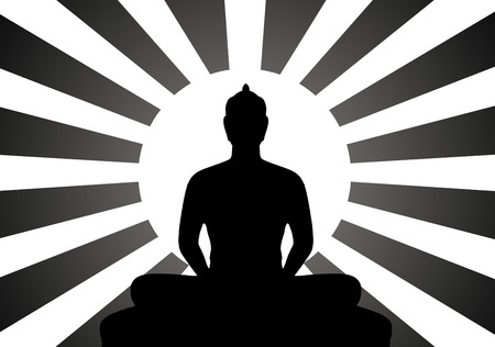 believes: Silhouette and Black   White of Buddha