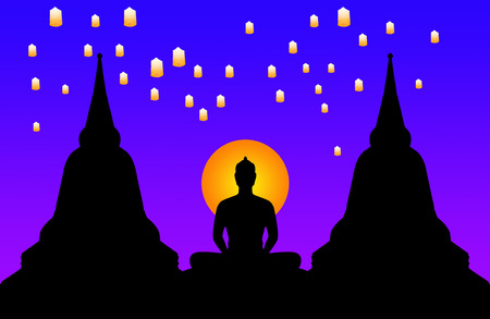 Silhouette of buddha at night and the lanterns floating in the sky,Thailand photo