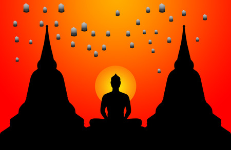 Silhouette of buddha the sunset background and the lanterns floating in the sky,Thailand photo