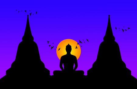 Silhouette of buddha at night,Thailand photo