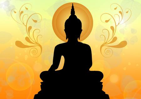 Silhouette of buddha , Thailand Stock Photo