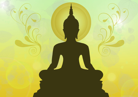 believes: Silhouette of buddha , Thailand Stock Photo
