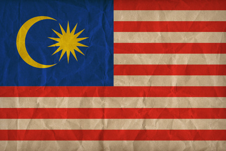 malaysia flag pattern on the paper texture, retro vintage style