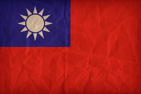 Republic of China (Taiwan) flag pattern on the paper texture ,retro vintage style Stock Photo
