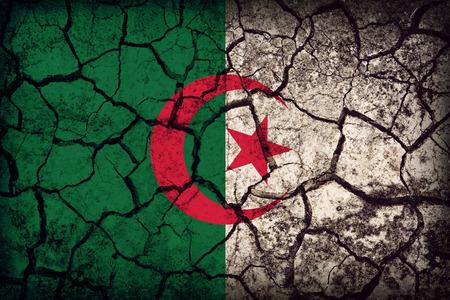 Algeria flag pattern on the crack soil texture ,retro vintage style