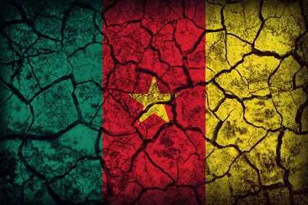 Cameroon flag pattern on the crack soil texture ,retro vintage style