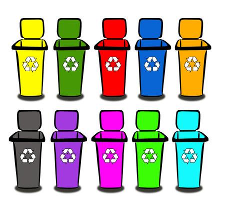 segregate: Recycle Bins Stock Photo