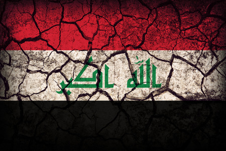 Irag flag pattern on the crack soil texture ,retro vintage style