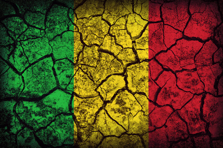 Mali flag pattern on the crack soil texture ,retro vintage style