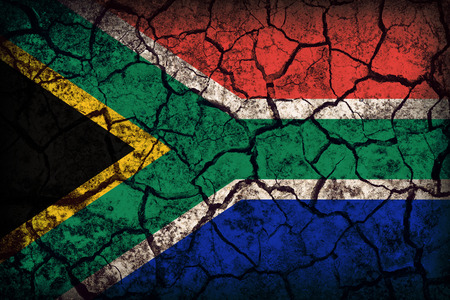 South Africa flag pattern on the crack soil texture ,retro vintage style photo