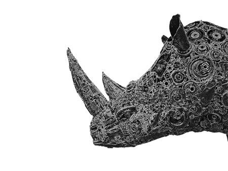 domination: Mechanical rhino graphic on white background