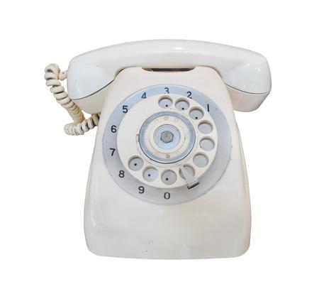 vintage telephone: Vintage telephone on white background Stock Photo
