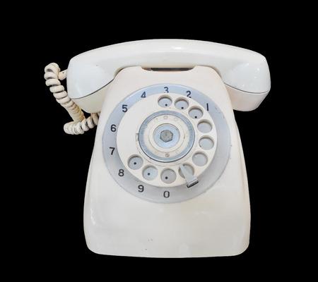 vintage telephone: Vintage telephone on black background