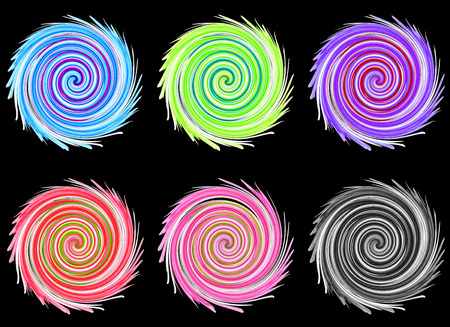 abstract graphic, distort twirl effect on black background photo