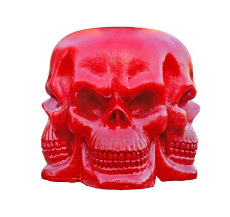 three face of red skull on the white background