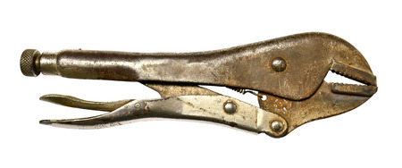 old locking pliers on a white background photo