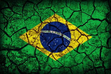 Brazil flag pattern on the crack soil texture ,retro vintage style