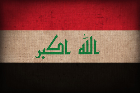 iraq flag: Iraq flag pattern on the fabric texture ,retro vintage style
