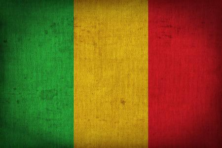 retrospective: Mali flag pattern on the fabric texture ,retro vintage style