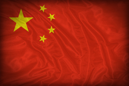 China flag pattern on the fabric texture ,vintage style Stock Photo
