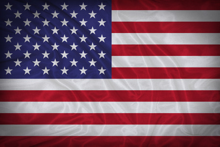 United States flag pattern on the fabric texture ,vintage style photo
