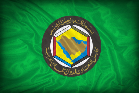gcc: Cooperation Council for the Arab States of the Gulf flag pattern on the fabric texture ,vintage style Stock Photo