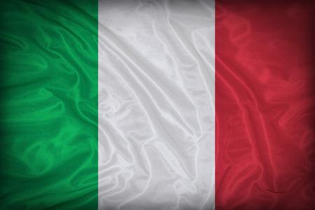 bandera italia: Italia patrón de bandera en la textura de la tela, estilo vintage Foto de archivo