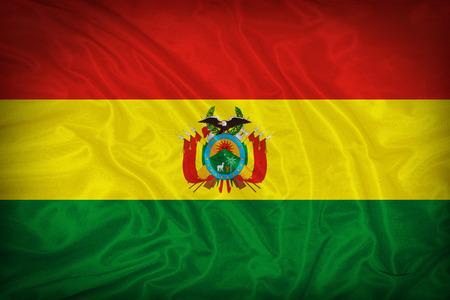 bandera de bolivia: Patr�n de la bandera Bolivia en la textura de la tela Foto de archivo