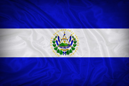 El Salvador flag pattern on the fabric texture
