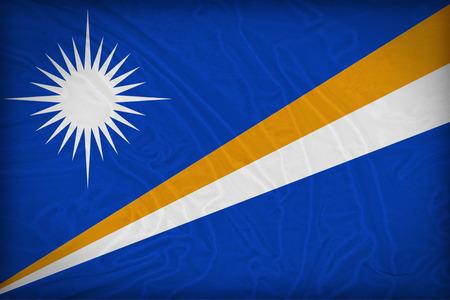 Marshall Islands flag pattern on the fabric texture ,retro vintage style photo