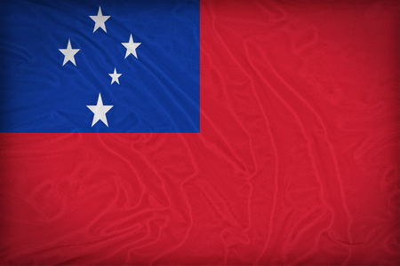 Samoa flag pattern on the fabric texture ,retro vintage style photo
