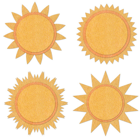 Sun grunge recycled paper craft stick on white background photo