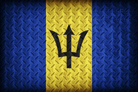 Barbados flag pattern on the diamond metal plate texture ,vintage style photo