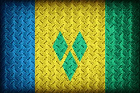 Saint Vincent and the Grenadines flag pattern on the diamond metal plate texture ,vintage style photo