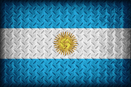 Argentina flag pattern on the diamond metal plate texture ,vintage style photo