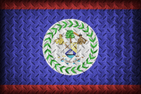 Belize flag pattern on the diamond metal plate texture ,vintage style photo