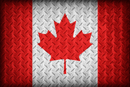 Canada flag pattern on the diamond metal plate texture ,vintage style photo