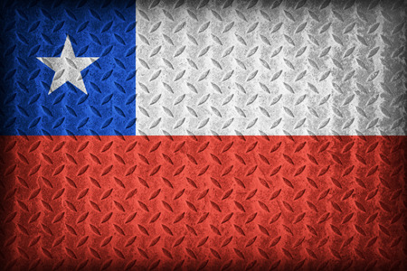 Chile flag pattern on the diamond metal plate texture ,vintage style photo